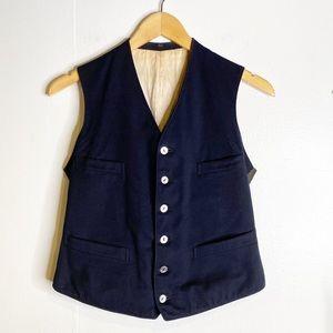 Vintage | Navy Blue, Wool, Newsie Vest